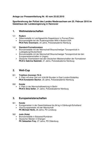 Anlage zur Pressemitteilung - Niedersachsen
