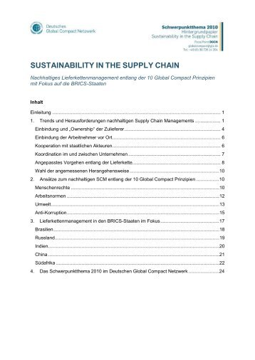Hintergrundpapier Sustainability in the Supply Chain - Deutsches ...