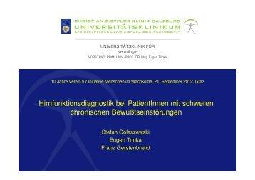 Hirnfunktionsdiagnostik bei PatientInnen mit schweren chronischen ...