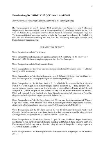 Entscheidung Nr. 2011-113/115 QPC vom 1. April 2011 - Conseil ...