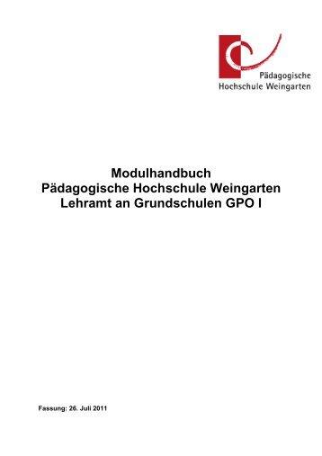Modulhandbuch zur GPO I - 2011 - Pädagogische Hochschule ...