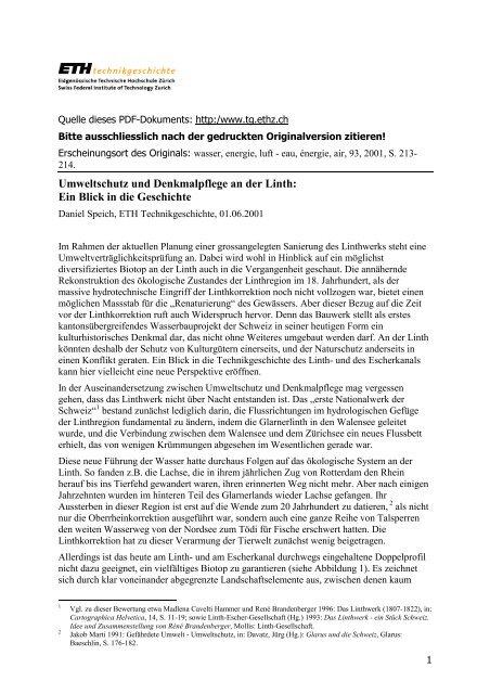 Umweltschutz und Denkmalpflege an der Linth - Technikgeschichte ...