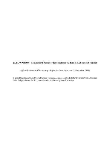 Königlicher Erlass über den Schutz von Kälbern in ... - SCTA