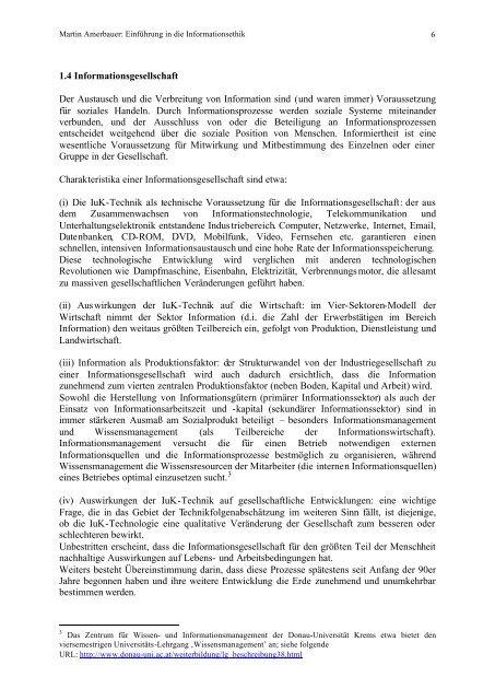 EINFÜHRUNG IN DIE INFORMATIONSETHIK ... - Amerbauer Martin