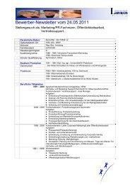 Bewerber-Newsletter vom 24.05.2011