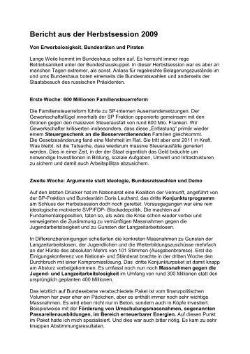 Bericht aus der Herbstsession 2009 - Max Chopard-Acklin