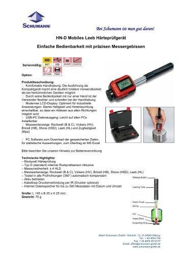 Professionelles Mobiles Leeb Härteprüfgerät - Schumann GmbH