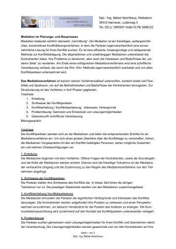 Weitere Informationen Mediation Dach Fachgruppen Mediation