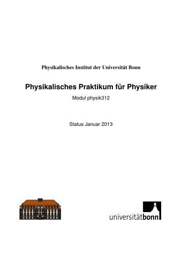 Physikalisches Praktikum für Physiker - Praktikum - Universität Bonn