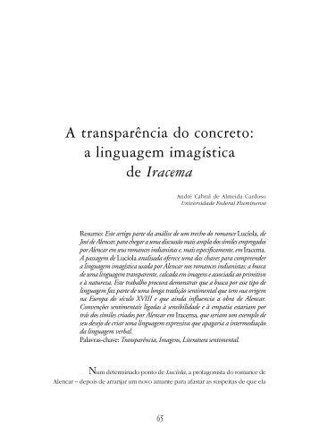 A transparência do concreto: a linguagem imagística de Iracema - Fale