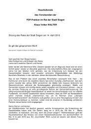 Haushaltsrede 2010 - FDP-Fraktion im Rat der Stadt Siegen