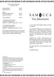 Speisekarte des Café Samocca