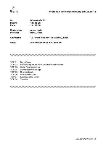 Protokoll Vollversammlung am 23.10.12 - AStA