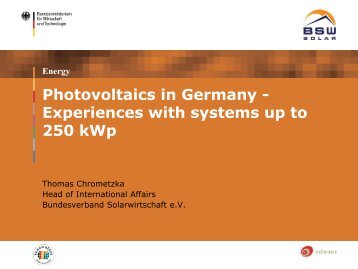 Photovoltaics in Germany - Experiences with systems up to 250 kWp
