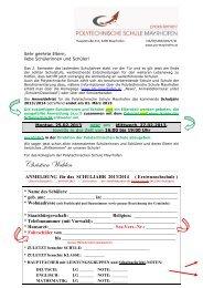 Einschreibung - Polytechnische Schule Mayrhofen