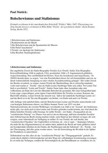 Paul Mattick: Bolschewismus und Stalinismus (1947)