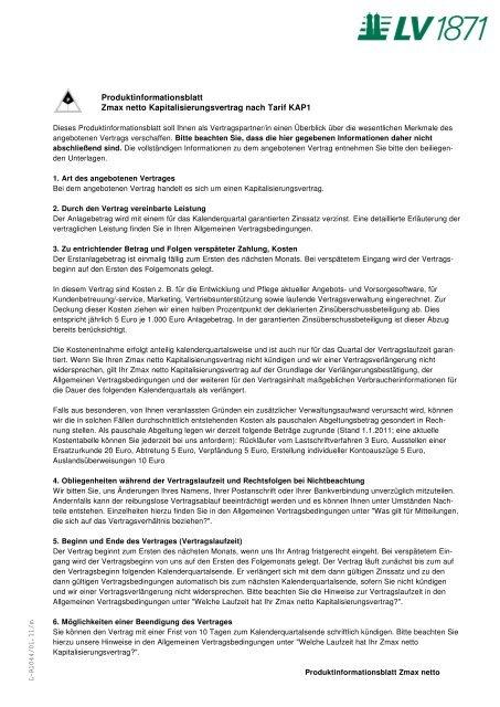 Produktinformationsblatt Zmax netto Kapitalisierungsvertrag nach ...