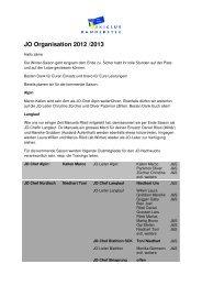 JO Organisation 2012 /2013 - Skiclub Kandersteg