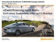 Elektrifizierung nach Maß« - Elektromobilität bewegt weltweit