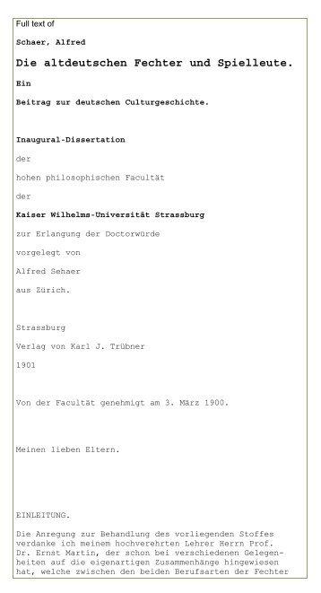 Die altdeutschen Fechter und Spielleute. Ein Beitrag zur ... - thata site