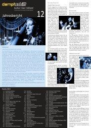 Jahresbericht 2012 Dampfschiff Kulturclub