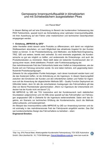 Gemessene Innenraumluftqualität in klimatisierten und mit ... - TWK