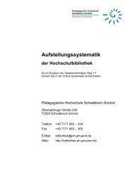 Aufstellungssystematik - Pädagogische Hochschule - Schwäbisch ...