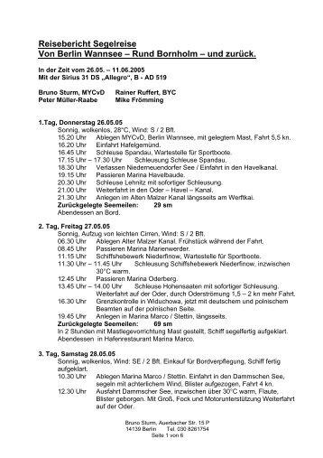 Reisebericht Segelreise - Sirius-werft.de