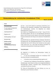 MWSt-Rückerstattung aus RO 2012 - AHK Rumänien