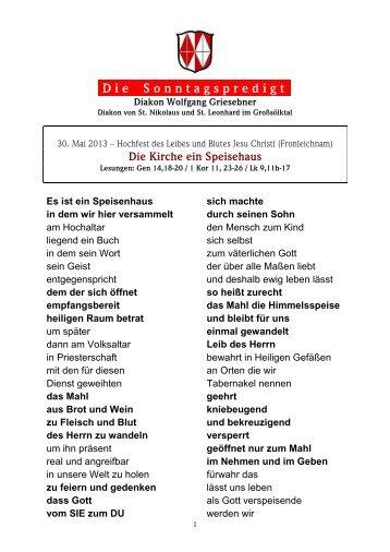 30.05.2013 Fronleichnam - Martyria.de