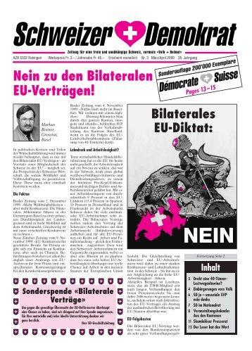 Bilaterale Verträge - Schweizer Demokraten SD