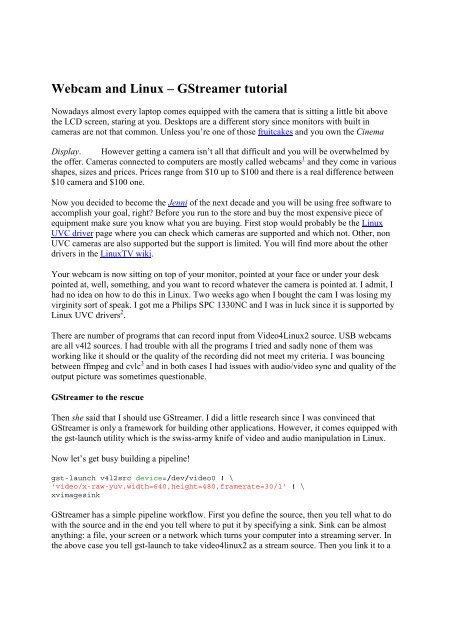 Webcam and Linux – GStreamer tutorial