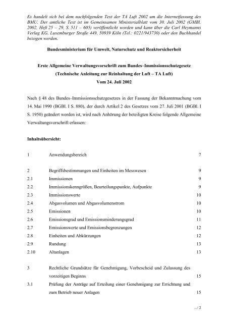 Technische Anleitung zur Reinhaltung der Luft - TA Luft - TA Luft 2002