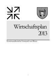 Wirtschaftsplan 2013 - Kommunalbetriebe Emmerich am Rhein
