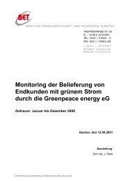 Monitoring der Belieferung von Endkunden mit grünem Strom durch ...
