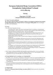 European Industrial Hemp Association (EIHA) Europäischer ...