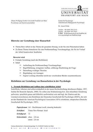 Hinweise Zur Gestaltung Schriftlicher Hausarbeiten Pdf File