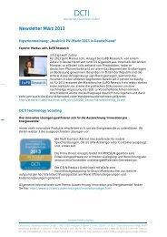 Newsletter März 2013 - DCTI Deutsches CleanTech Institut