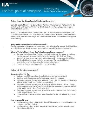 Weitere Informationen zum Fachpressestand - ILA