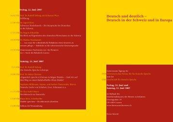 Deutsch in der Schweiz und in Europa - Schweizerischer Verein für ...