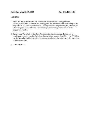 1/SVK/046-03 Leitsätze - Oeffentliche Auftraege
