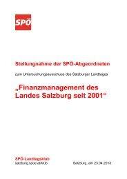"""""""Finanzmanagement des Landes Salzburg seit ... - Seekirchen - SPÖ"""