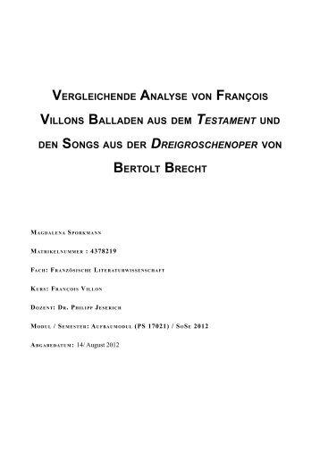 Hausarbeit_Brecht_Villon_Sporkmann - Theaterkritiken Berlin