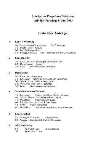 Antragsbuch zum Parteitag - Alternative für Deutschland - Hamburg