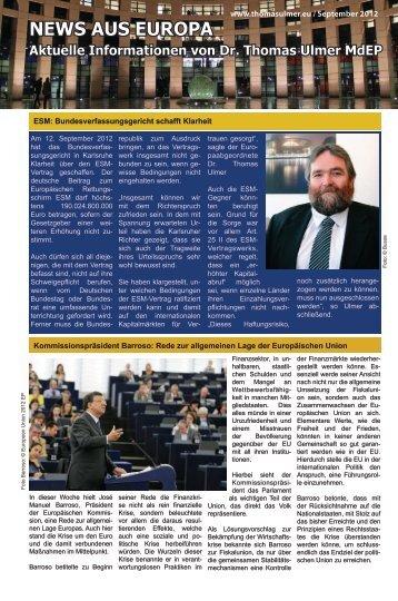 News aus Europa: 14. September 2012 - Dr. Thomas Ulmer MdEP