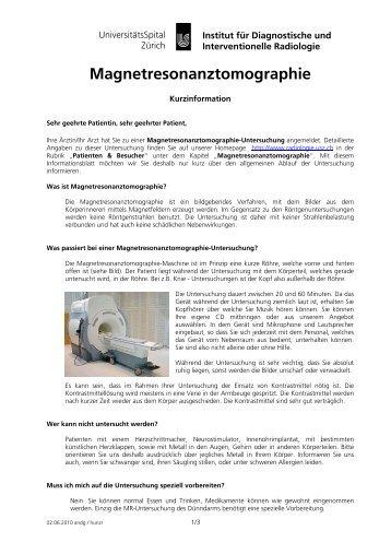 Magnetresonanztomographie - Radiologie - UniversitätsSpital Zürich