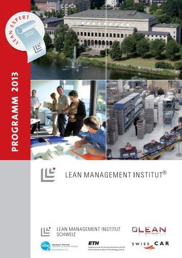 Seminarprogramm 2013. - Lean Management Institut