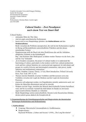 Handout 6 Cultural Studies.pdf - Institut für Soziologie - Friedrich ...