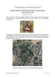 Schloss Hofeck im Besitz der Familie von der Grün von 1479 bis 1560