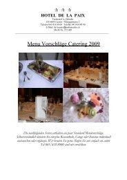 MENU VORSCHLÄGE Catering 2006 - Hotel de la Paix
